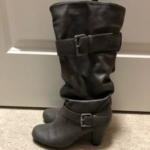 Slouchy Grey Boots